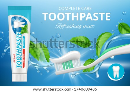 Toothpaste ads. Promotional advertizing poster of fresh healthy dental protection mint toothpaste vector illustration realistic Foto stock ©