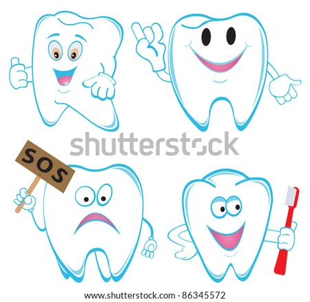 Tooths. Set. Vector illustration - stock vector