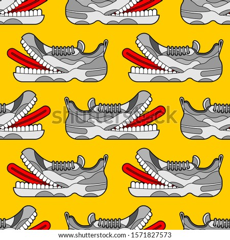 Toothy Sneaker monster pattern seamless. Sneakers with teeth background. Angry hungry Sports shoes vector texture