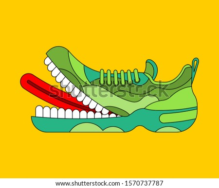 Toothy Sneaker monster. Sneakers with teeth.  Angry hungry Sports shoes vector illustration