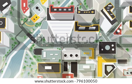 Top, aerial or bird's eye view of city with buildings of modern architecture, skyscrapers, streets, river and bridge. Beautiful urban landscape, plan. Colorful vector illustration in cartoon style.