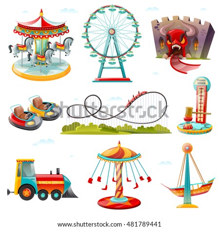 Top amusement park attractions rides flat icons collection with carousel ferry wheel and roller coaster vector illustration
