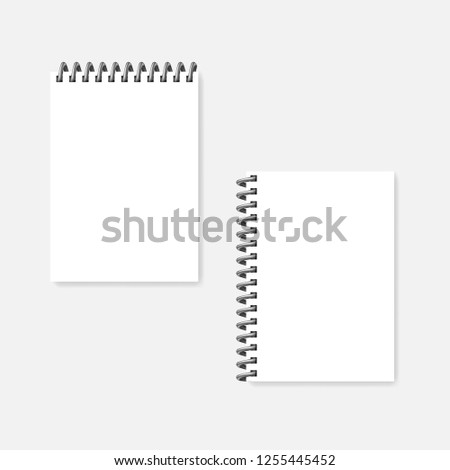 top and side spiral blank notebook realistic vector mock up wire coil bound