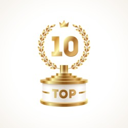 Top 10 award cup. Golden award trophy with laurel wreath and crown - isolated on white background. Vector illustration.