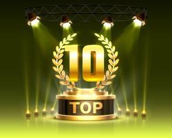 Top 10 best podium award sign, golden object. Vector illustration