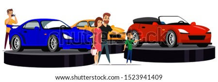 Top car motor show flat vector illustration. Luxury auto performance. Rich people choosing automobile cartoon characters. Vehicles in showroom. Wealthy man buying expensive sport car