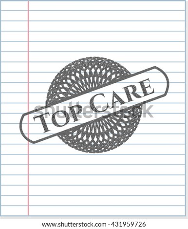 Top Care emblem drawn in pencil