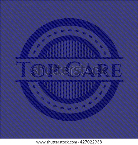 Top Care emblem with denim texture
