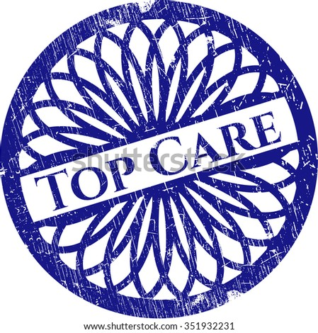 Top Care rubber stamp with grunge texture