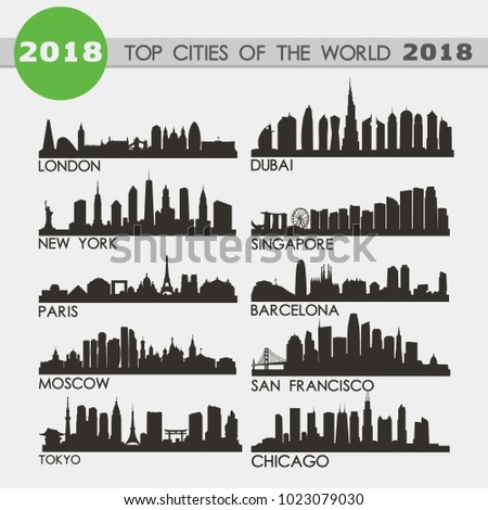 Top Cities of teh World 2018 Skyline Silhouette Icon Flat Vector Design Collection Set ストックフォト ©