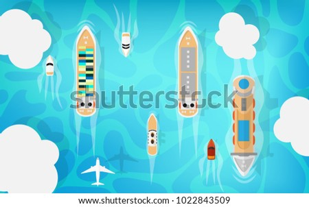 Top down aerial view of cruise ship, cargo ship, petroleum ship and small private ship while cruising among the peaceful ocean in the middle of summer holiday vacation time with airplane in sky