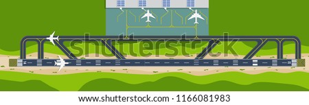 Top down view from the sky of the airport with runway and terminal with plane(airplane) is taking off or landing with cloud and copy space for text