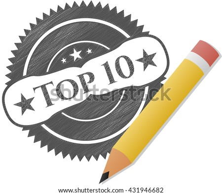 Top 10 emblem drawn in pencil