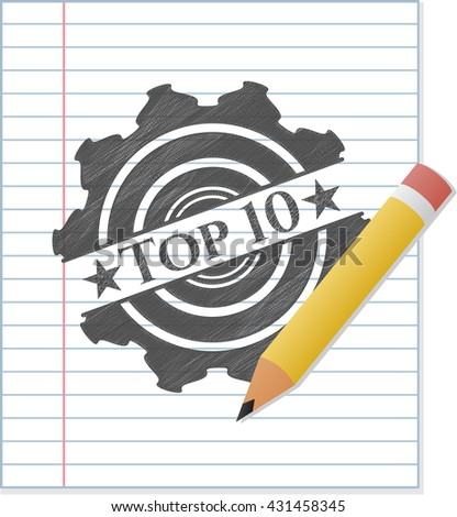 Top 10 emblem with pencil effect