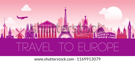 top famous landmark of Europe,silhouette design pink color,vector illustration