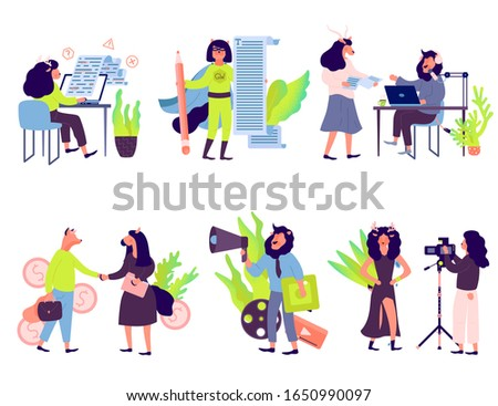 Top future business ideas in 2020. Affiliate Sales and Marketing Consultant, Brand Photographer, Marketing, Video Producer, Podcast Producer. Template of web Layout, ui header, enter site slider.
