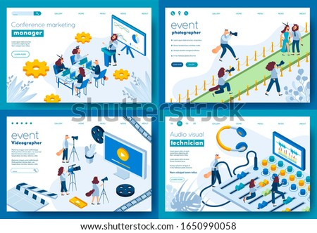 Top future business ideas in 2020. Conference Marketing Manager, Event Photographer, Event Videographer, Audio Visual Technician. Template of flyer, web Layout, ui header, enter site slider.