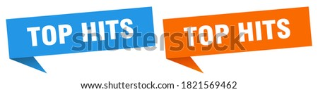 top hits banner sign. top hits speech bubble label set Stock photo ©