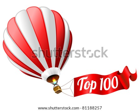 top 100 icon - isolated hot air balloon with sign - stock vector
