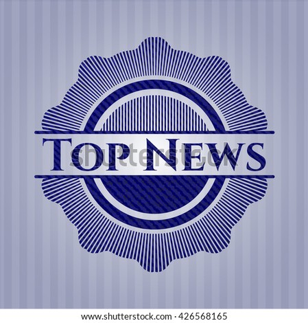Top News badge with denim background