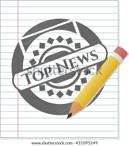 Top News drawn in pencil