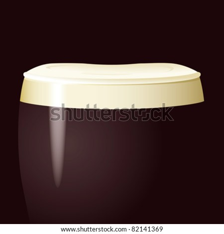 top of a pint glass with black