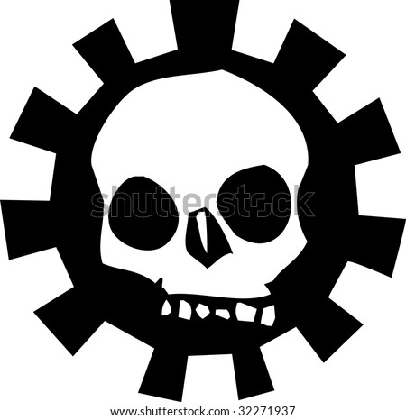 Top of skull in  a mechanical gear.