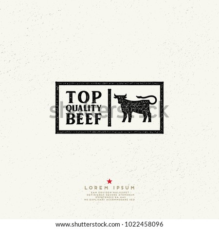 Top quality beef vintage Label. Vector beef retro logo. Ink stamp designs.