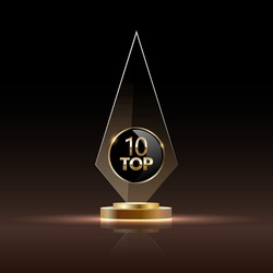 Top 10 rectangular award trophy. Glass prize with gold number 10. Champion glory in competition vector illustration. Hollywood fame in film and cinema or championship in sport.