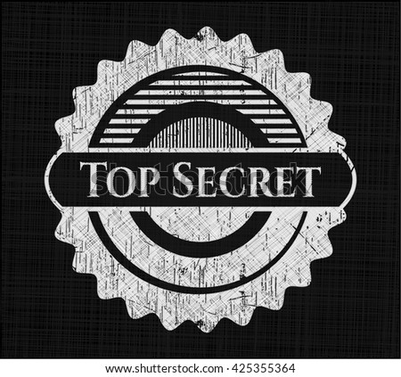 Top Secret chalkboard emblem on black board