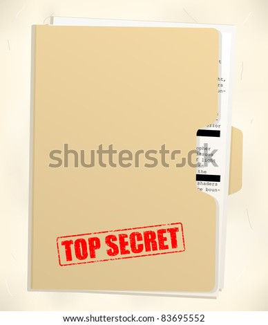 top secret folder - stock vector
