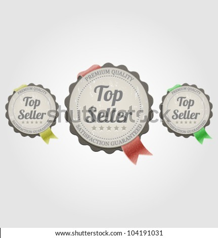 Top seller label with ribbons