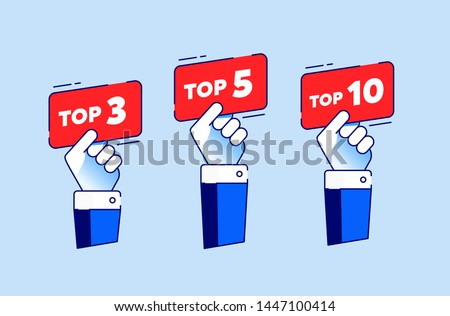 Top 3, 5, 10. Set of a rating stamp, badge. Hands with score labels, nameplate. Trendy tag for web, video, promo, pictures.