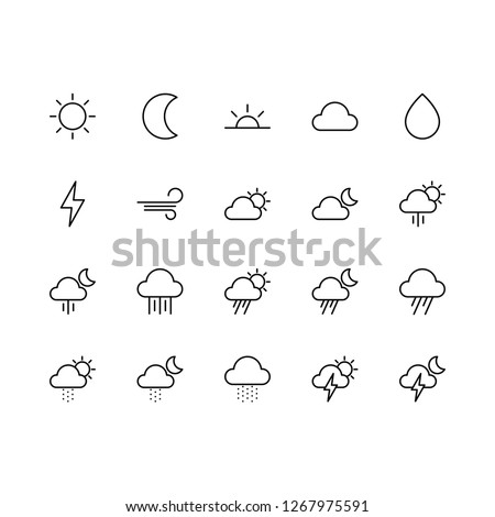 Top 20 Simple Set of Weather Related Vector Line Icons. Contains such Icons as Cloud, Rain, Lightning, and more. Editable Stroke. Pixel Perfect.