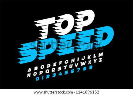 Top Speed style font, alphabet and numbers, vector illustration