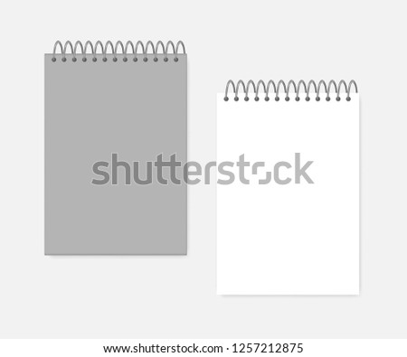 Top spiral A4 notebook, realistic mockup. Wire bound blank notepad: gray cover and white page, mock-up. Sketchbook or diary, vector template.