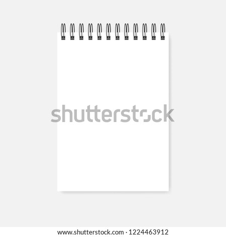Top spiral blank notebook, realistic vector mock-up. Wire bound empty notepad template. White A5 diary mockup.