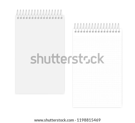 Top spiral junior legal size notebook, realistic vector mock up. Wire bound squared paper notepad, mockup. Softcover grid lined diary: page and cover, template