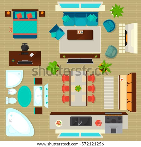 Sofa chair top view Student Chair Top View Apartment Interior Set Isolated Vector Illustration Living Room Bedroom Kitchen And 123rfcom Vector Images Illustrations And Cliparts Top View Apartment