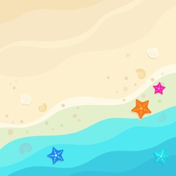 Top view beach background. Sandy beach with blue waves, starfishes and seashells. Vector illustration, cartoon flat style.