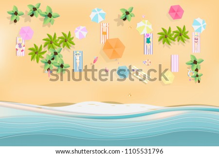 Stock Photo Top view beach background with blue sea, Concept summer beach holiday , Paper art idea and digital craft.