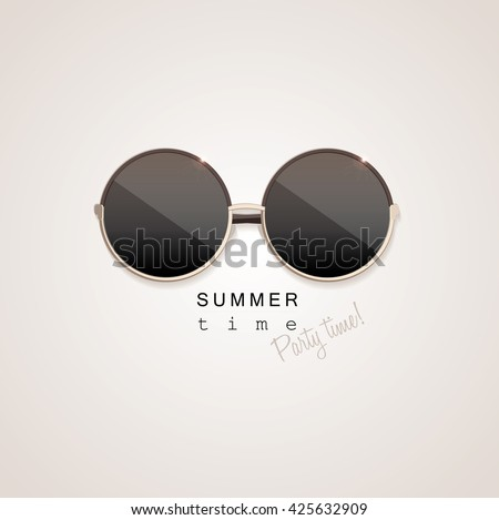 Top view black vintage retro style sunglasses with glass mirrors isolated on light background with summer time, party time lettering typography