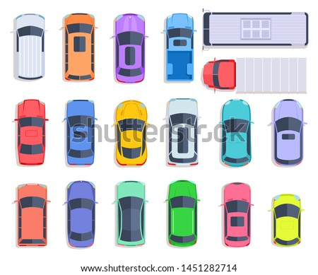 Top view cars. Auto transport, truck and car roof of vehicle transport. City traffic, automobile transportation flat vector set. Auto truck and vehicle, automobile car above illustration