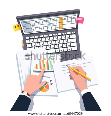 Top view closeup of business analyst or marketing manager man working, analyzing charts, planning, scheduling, writing using laptop computer. Business person doing paperwork. Flat vector illustration