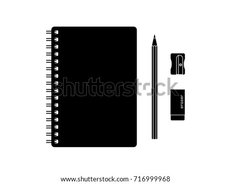 Top view desk of stationery objects in black and white vector. spiral notebook, pencil, eraser, and sharpener isolated on white background