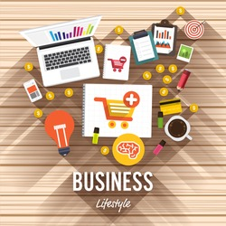 Top view element business flat design on wood background. Vector illustrate for article shopping online.
