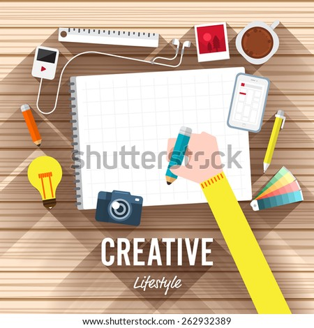 Top view element creative flat design on wood background. Vector illustrate for article shopping online.