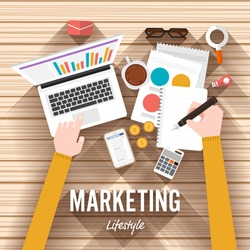 Top view element marketing flat design on wood background. Vector illustrate for article shopping online.