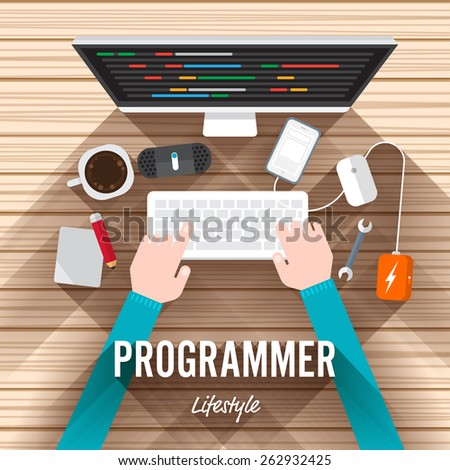 Top view element programmer flat design on wood background. Vector illustrate for article shopping online.