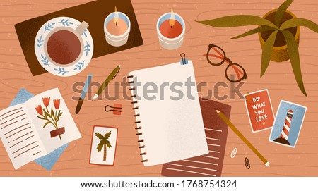 Top view empty paper notepad for drawing or write diary vector flat illustration. Clean notebook for planning with cosiness things on desk. Workplace organization for inspiration and productivity